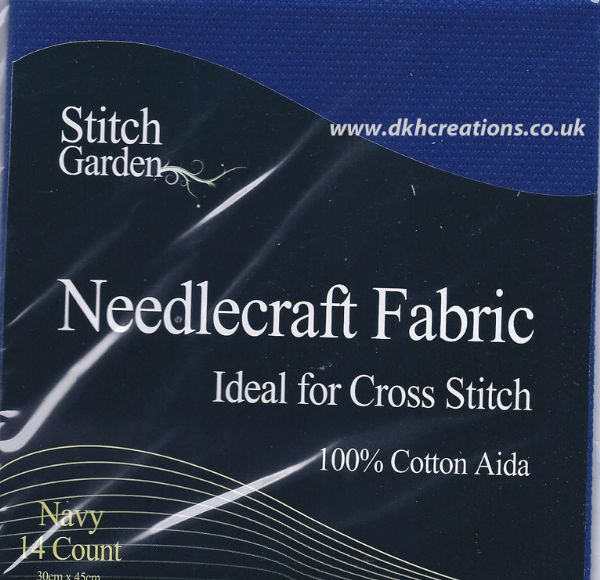 Stitch Garden Navy  Blue 14 Count Aida Fabric
